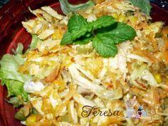 Salada de Frango com Cenoura ao molho de iogurte - Reaproveitamento de frango assado
