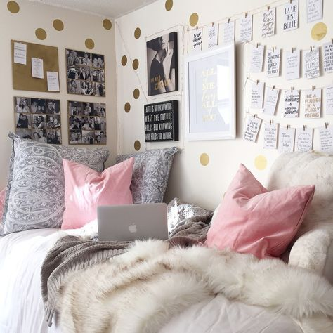 Dorm Room Decorations! Love the polka dot decals, easily found on Etsy!