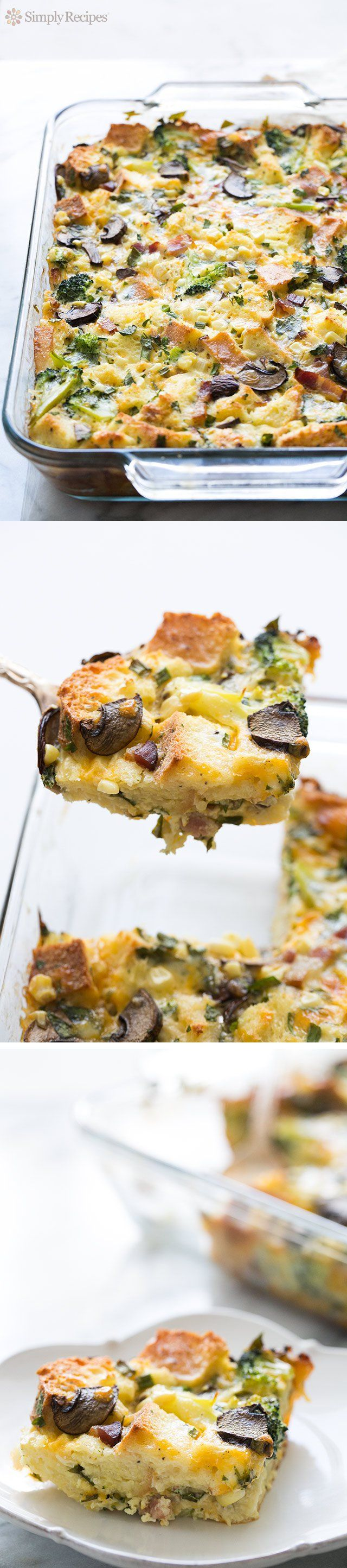 As-You-Like-It Breakfast Casserole - Easy-to-make breakfast casserole, with eggs, cheese, milk, and bread, baked with your favorite mix-ins - sausage, bacon, ham, mushrooms, veggies.