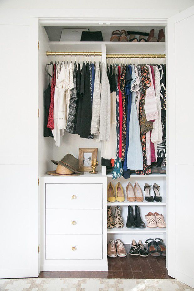 If You Re Cramped On Space Place A Small Dresser And Shoe Rack Beneath Your Hanging Clothes Closet Renovation Bedroom Organization Closet Closet Small Bedroom