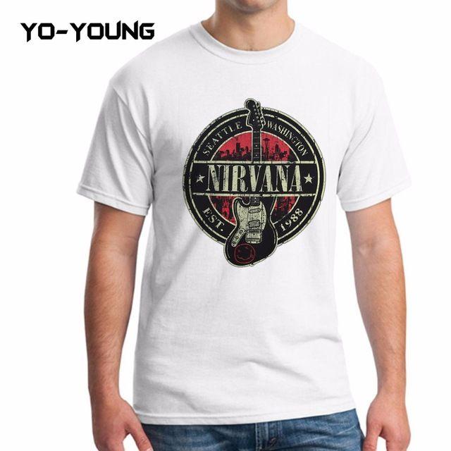 Yo-Young Men Casual T Shirts Rock Band Nirvana Kurt Cobain Printed 100% 180g Combed Cotton Short Sleeve Quality Customized