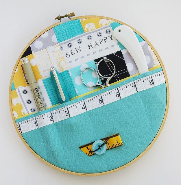 Sewing storage hoop...such a cute idea