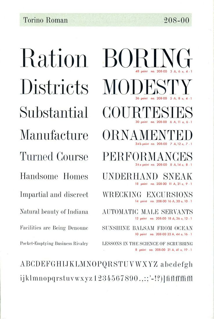 A vintage type specimen of the Torino Roman font by Nebiolo.