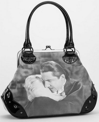 Ah the romance! If Dracula nibbling at your neck makes you swoon, you won't be able to live without this beautiful purse with Dracula (Bela Lugosi) and Mina Harker in a clinch! Come join the undead at Ipso Facto!