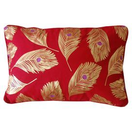 """Jewel-toned cotton pillow with a fruit and flower motif and stitched wave detailing.   Product: PillowConstruction Material: 100% CottonColor: Red and goldFeatures: Insert includedDimensions: 12"""" x 18"""""""