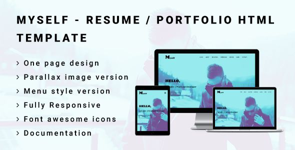 MYSELF - Resume or Portfolio HTML Template | Advertising design ...