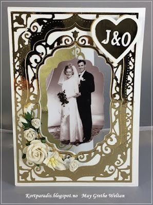 Kortparadis.blogspot,no Kortparadis Kort Card Bryllup Wedding Gullbryllup Hjemmelagt Spinningcard Snurrekort Homemade sCRAPPING Stempelglede Kaboks