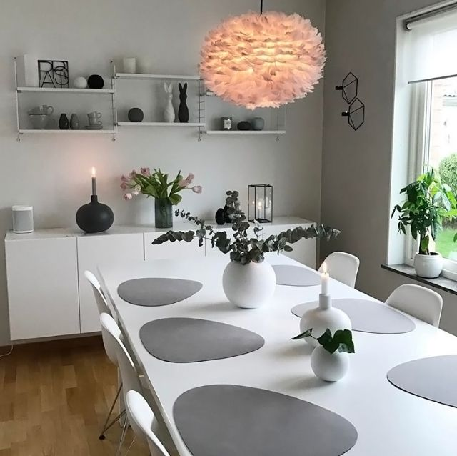 Vita Eos Light Shade - and Lind DNa leather recycled table mats make a stylish dining area. All available from www.cloudberryliing.co.uk #tablemats #scandi #tablesetting #whiteliving