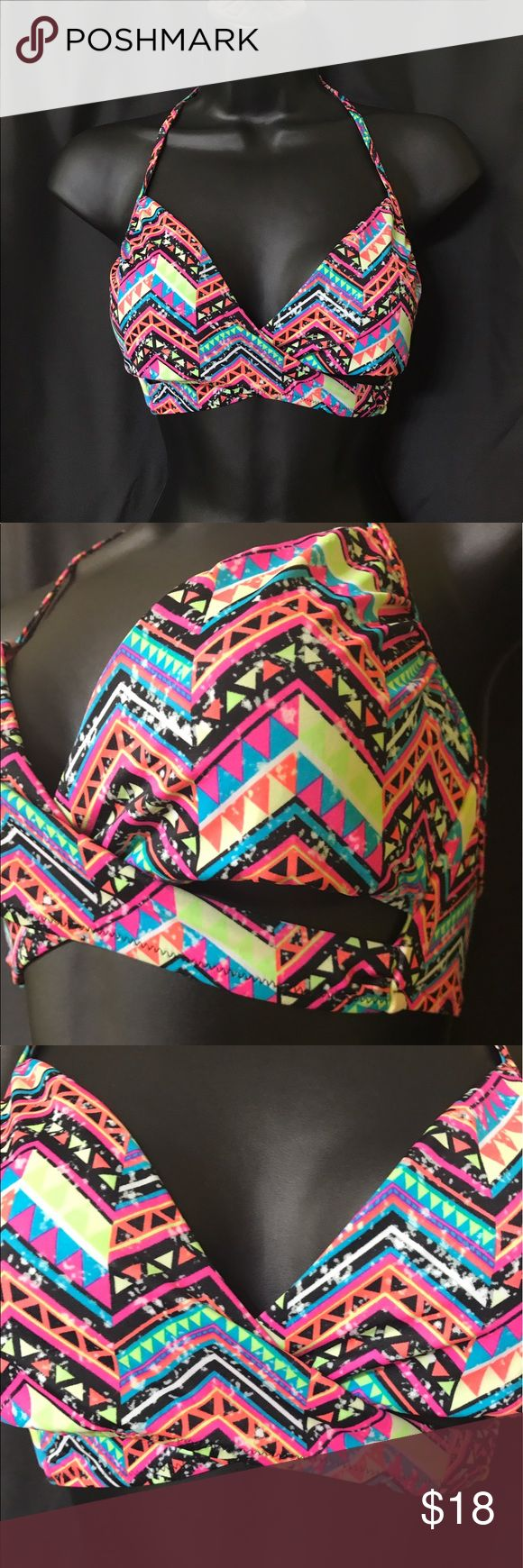 VS Aztec Criss Cross Swim Top In great condition. Rainbow style paint splatter Aztec print. Cross crosses to form small cut outs under the cups. Clasps in the back and ties around the neck PINK Victoria's Secret Swim Bikinis