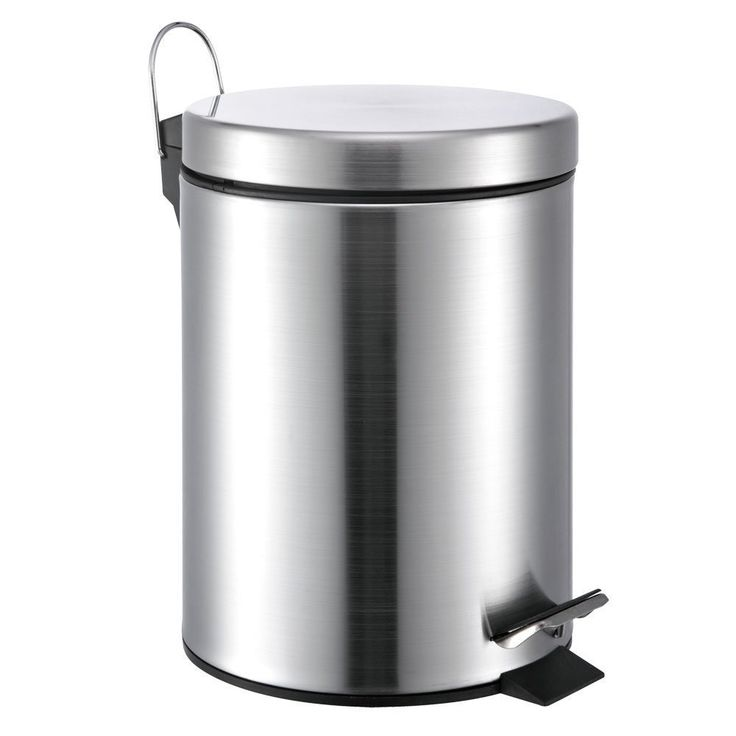 Beyond Silver-colored Stainless Steel Round 3-gallon Step-on Trash Can (Silver), Size Under 3 Gallons