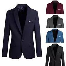 2016 New Men's Casual Slim Fit Formal One Button Suit Blazer Coat Jacket Tops