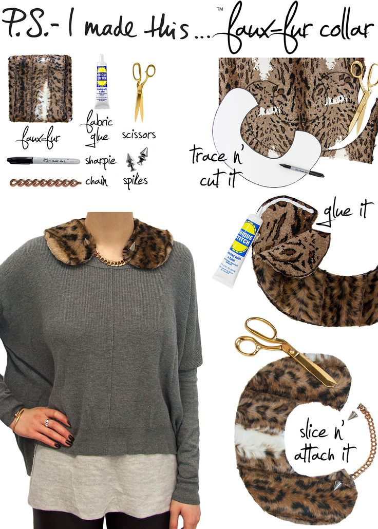 All you need are scissors and a little Dritz Unique Stitch to make this fab faux fur collar. From PSIMT. #refashioning #sewing