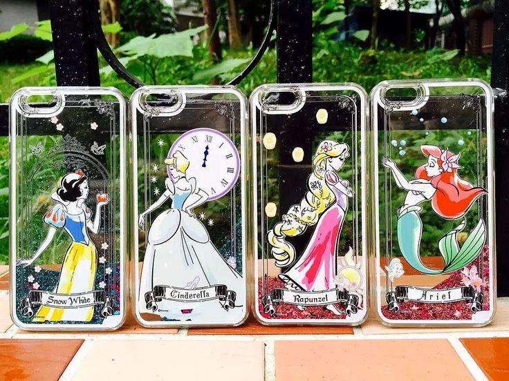 Disney Snow White Cinderella Rapunzel Ariel Princess Dynamic Liquid Glitter Sand Quicksand Case For Iphone 5 5G 5s 6 6S 6Plus
