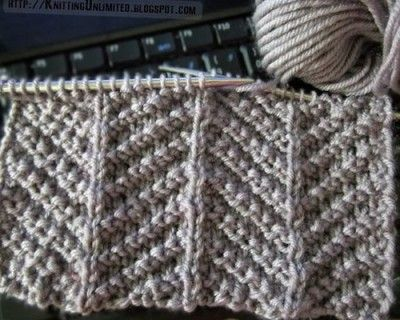 Only knit and purl stitches are used to make up this herringbone texture knitting stitch and isn't too tricky for beginners