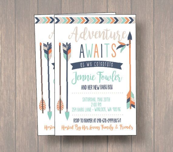 baby shower invite baby boy shower invitation tribal theme baby shower arrows baby