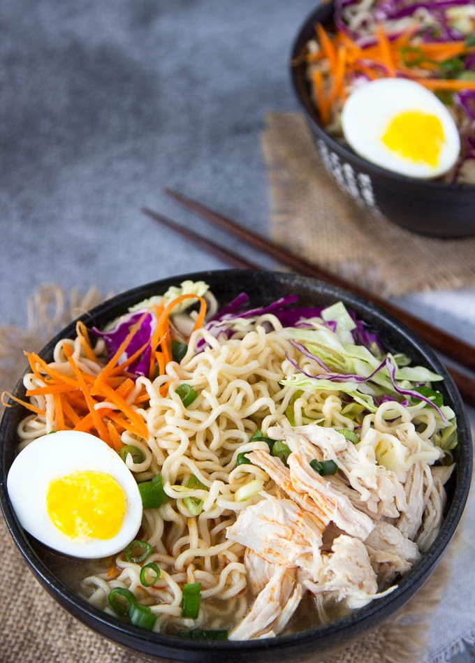 Healthy Chicken Ramen Bowl by simplehealthykitchen: Super simple to make! You only need one pot and about 20 min. cook time. Before you know it you'll be slurping up this flavorful soup with tons of noodles, healthy veggies, soft set eggs and a dash of hot chili oil ( or sesame oil if you're not into spicy).  #Ramen #Chicken