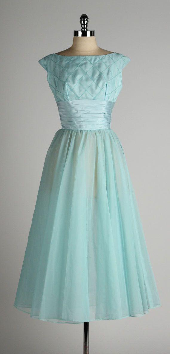 vintage 1950s dress . sky blue chiffon . by millstreetvintage