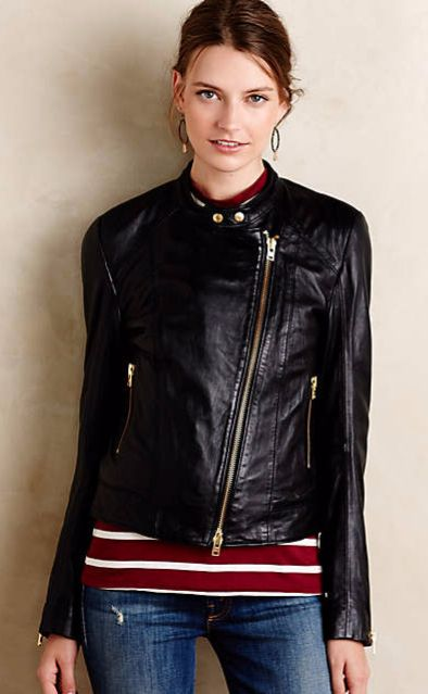Closed Leather Moto Jacket #anthrofave