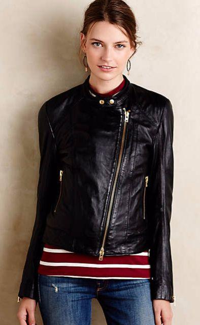 Closed Leather Moto Jacket #anthrofave