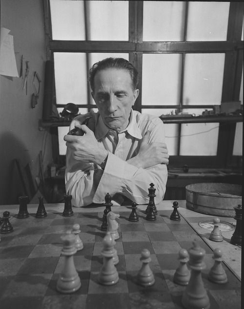 """""""I am still a victim of chess. It has all the beauty of art — and much more. It cannot be commercialized. Chess is much purer than art in its social position."""" - Marcel Duchamp"""