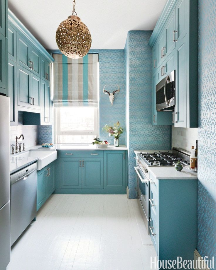 Her New York City Kitchen May Be On The Small Side But Designer Sheila Bridges Didnt Let That Cramp Style An Elegant Silvery Blue Wallpaper Adds Some