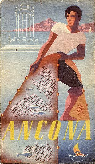 """Ancona,"" 1940 Italia, Riviera adriatica. Vintage beach poster . www.varaldocosmetica.it/en : olive oil cosmetics from the riviera ."