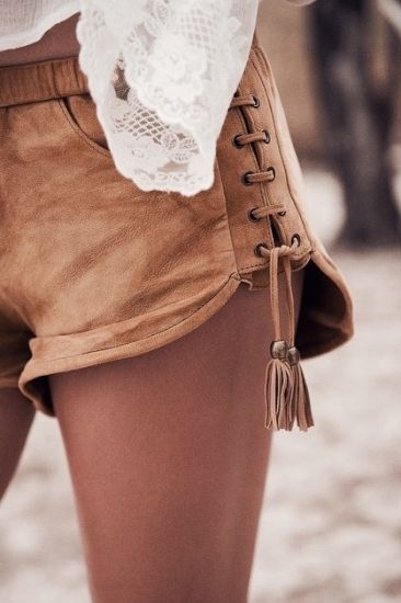 Suede shorts + a lace top.