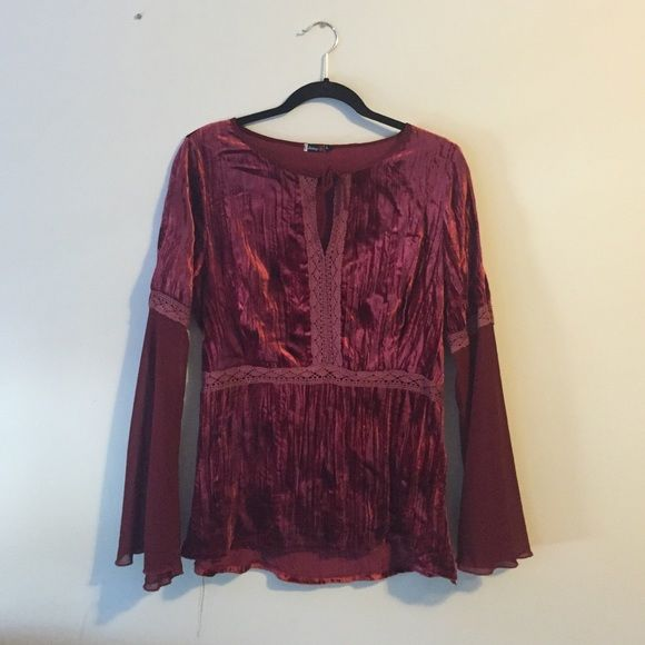 Red Velvet Shirt Shirt is red velvet with chiffon and lace! Tops