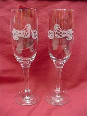Motorcycle Themed Wedding Wine Flutes, Personalized Wedding Toast