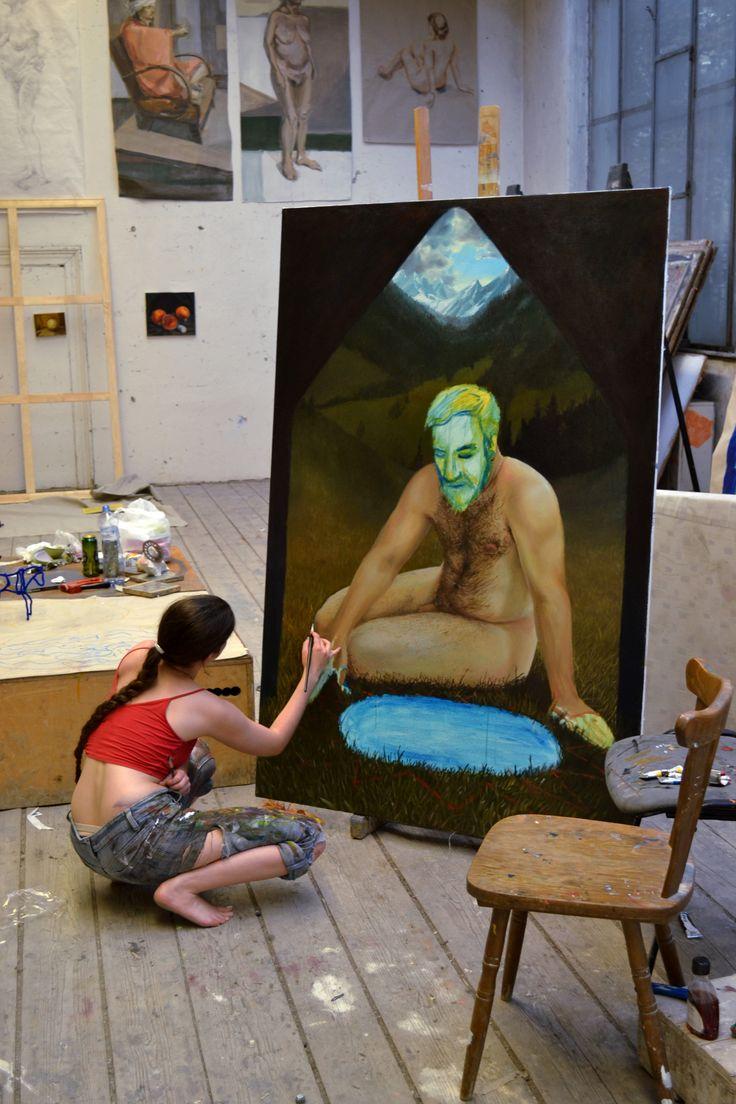 Painting in studio  Klara Sedlo art