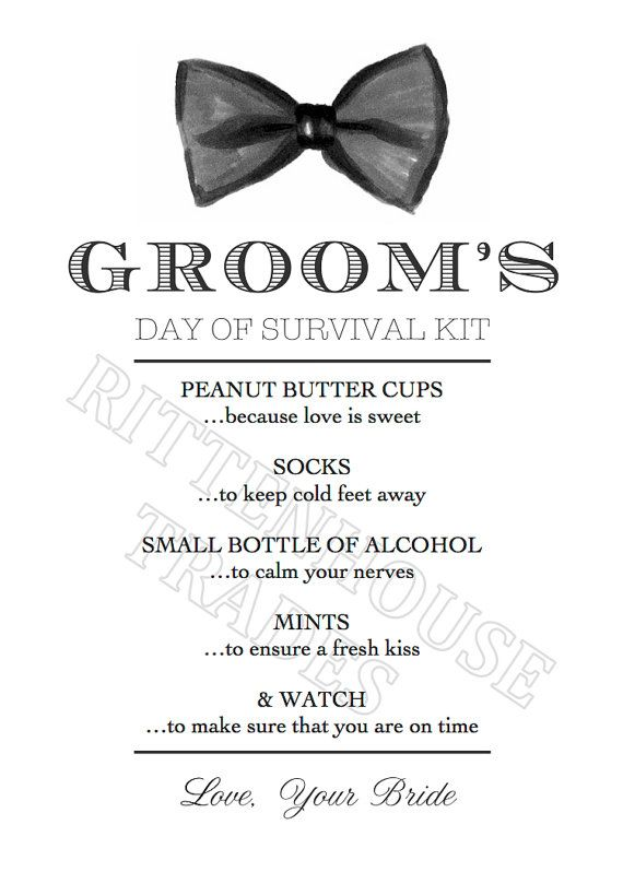 Groom's Day of Survival Kit Printable Card by RittenhouseTrades, $5.00