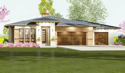 Plan 64424SC: Prairie Style House Plan Ideal for a Gently Sloping Lot