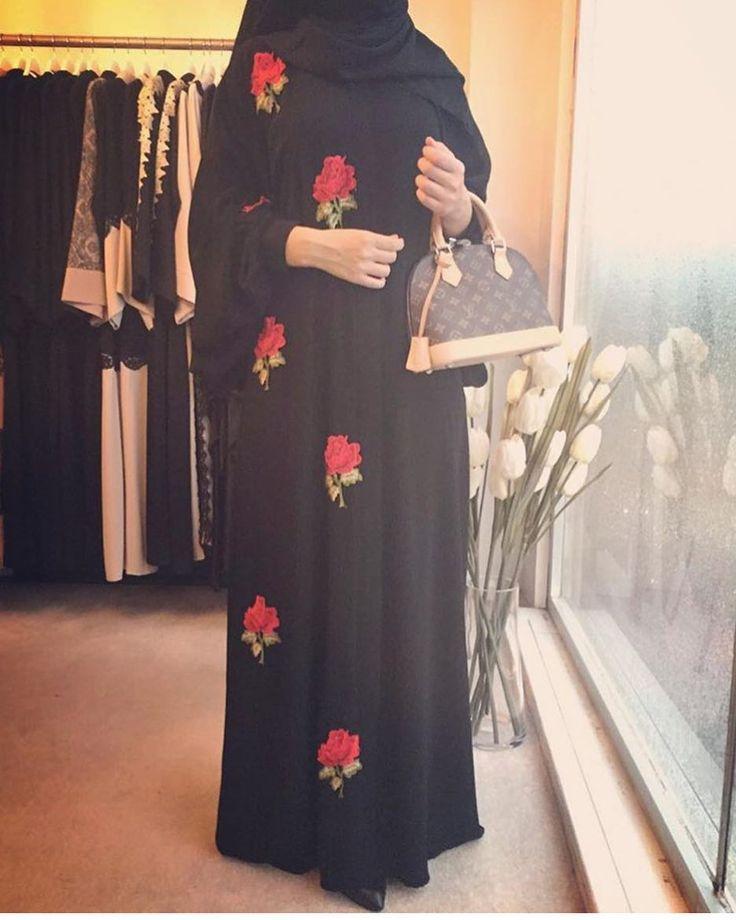 Black with flower abaya