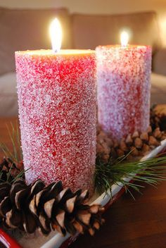 How to make Snow Candles ~ Simply apply mod podge with a foam brush, then roll it in Epsom salt. Quick and simple DIY project for Christmas