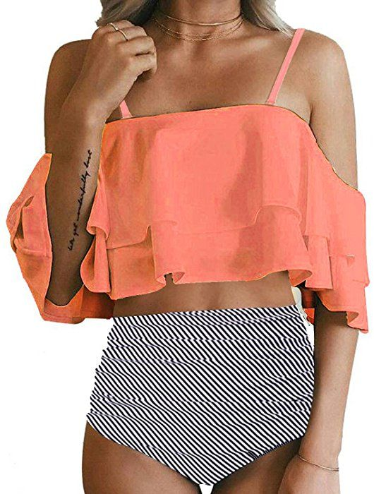 ccb3ecdf2a34f Tempt Me Women Two Piece Off Shoulder Ruffled Flounce Crop Bikini Top with  Print Cut Out Bottoms Orange S: Clothing