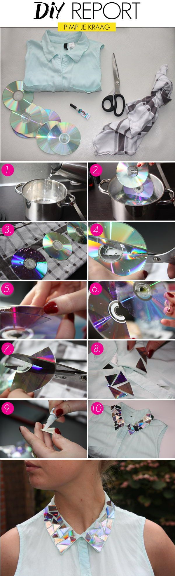 Add a shiny collar to your boring blouse with old CDs. http://hative.com/fashionable-diy-clothes-ideas/