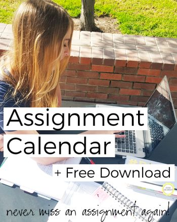 This assignment calendar is the perfect way to organize your work and never miss a due date.. great for students both in college and high school!