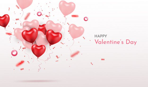 Happy Valentines Day 3d Realistic Heart Balloons With Glitters Love Season Banner Greeting And Card In 2020 Happy Valentines Day Heart Balloons Happy Valentine