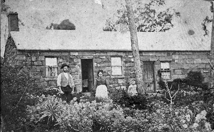 Family in Front of a Stone Cottage, Harveytown, Victoria, circa 1885  Now known as Eaglehawk