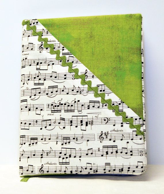 Musical theme covered journal in green by WritingPlaces on Etsy, $15.00