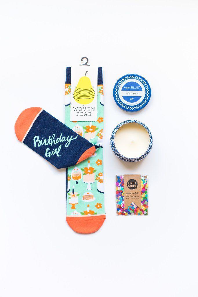 The Birthday Box, Easy Birthday Gift, birthday socks, Confetti, JR watkins, online birthday gift, order birthday gift online, birthday girl, volcano candle,