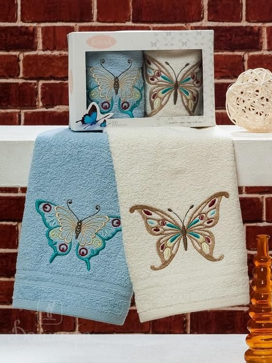 Набор полотенец с вышивкой KARNA MARON V2 30х50 (2шт) от Karna (Турция) - купить по низкой цене в интернет магазине Домильфо