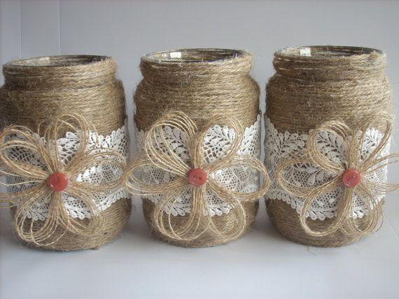 Rustic Wedding Burlap Jar, Lace and burlap jar, burlap centerpiece,Rustic…