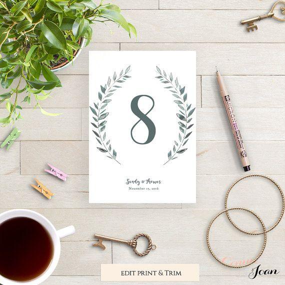 Table modèle rustique imprimable numéros de mariage | Couronne de feuilles | Royal Gardens | 4 x 6 et 5 x 7 chiffres modifiable imprimable