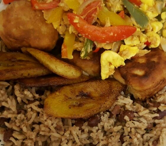 Ackee and saltfish, dumpling and plantain