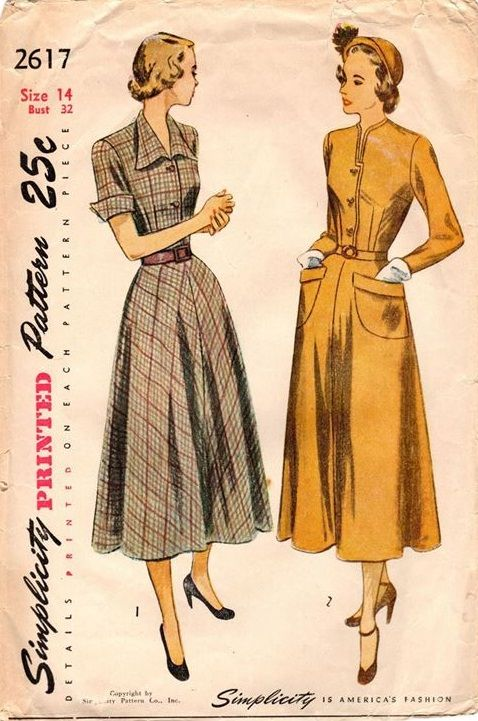 "Simplicity 2617. 1948 One-Piece Dress. Bust 32"". Original. Complete."