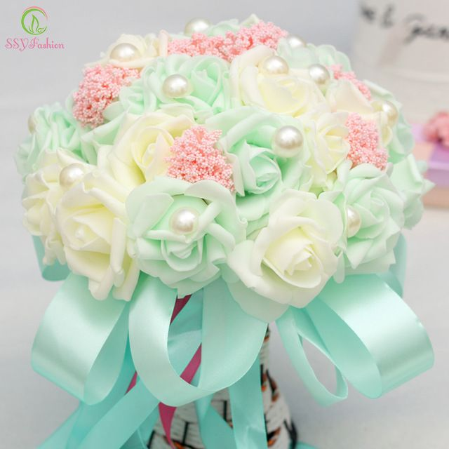 SSYFashion Buque De Noiva Romantique Tenant Des Fleurs Rose avec Perles Birdal Bouquet Bouquets De Mariage pour Demoiselles D'honneur Fleur Fille