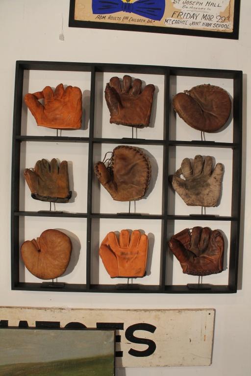 9 baseball glove display by doug wyant www.douglasrwyantantiques.com