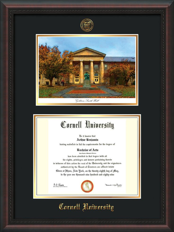 Cornell U Diploma Frame-Mahogany Braid-Goldwin Photo-Black on Gold mat – Professional Framing Company