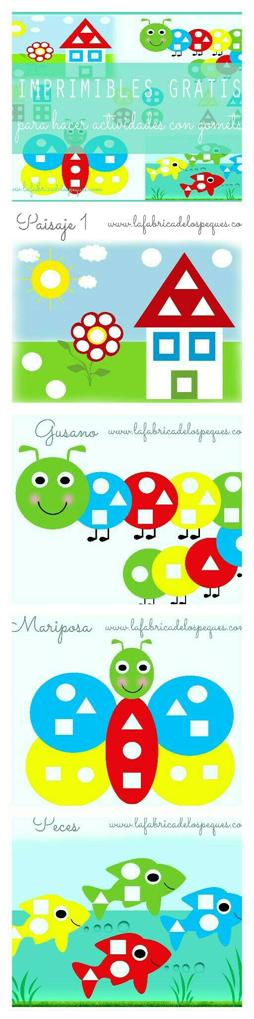 Imprimibles gratis para hacer actividades con gomets | La fábrica de los peques
